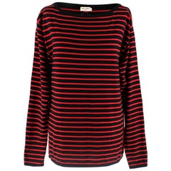 Saint Laurent Red & Black Striped Wool Top - Size S