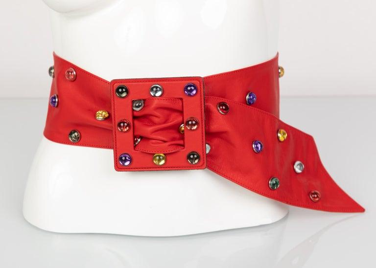 Saint Laurent Red Leather Jewel Belt Ysl 1980s For Sale
