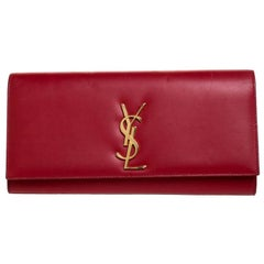 Saint Laurent Red Leather Kate Monogram Clutch