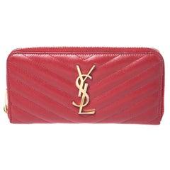 Saint Laurent Red Leather Monogram Zip Around Wallet