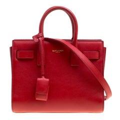 Saint Laurent Red Leather Nano Classic Sac De Jour Tote