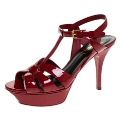 Saint Laurent Red Patent Leather Tribute Platform Sandals Size 36.5