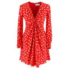 Saint Laurent Red Polka-dot Print Dress XS