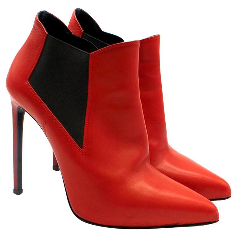 Saint Laurent red stiletto Chelsea boots 39  For Sale