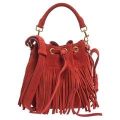 Saint Laurent Red Suede Small Emmanuelle Fringed Bucket Bag