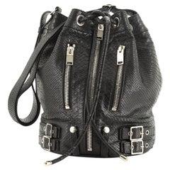 Saint Laurent Rider Bucket Bag Python Embossed Leather Medium