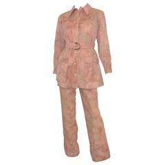 Yves Saint Laurent Rive Gauche Tye-Dye Pant + Safari Jacket Ensemble Set c. 1968