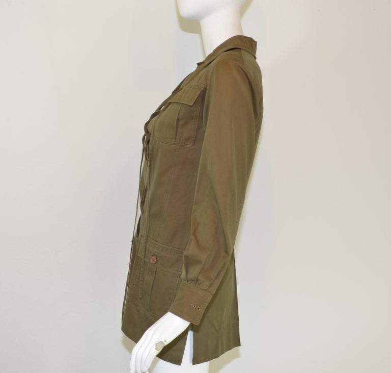 Saint Laurent Rive Gauche 1969 Vintage Safari Lace Up Jacket/Tunic In Good Condition For Sale In Carmel by the Sea, CA