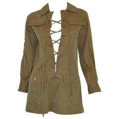 Saint Laurent Rive Gauche 1969 Vintage Safari Lace Up Jacket/Tunic