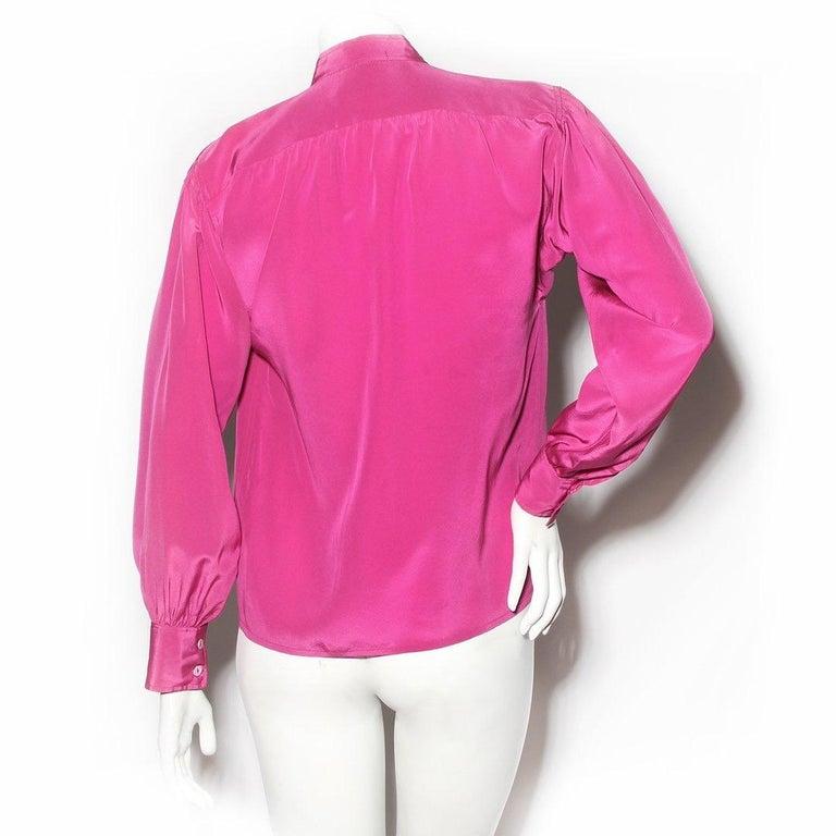 Pink Saint Laurent Rive Gauche Blouse Circa 1980's For Sale