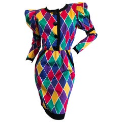Saint Laurent Rive Gauche Iconic Harlequin Pattern Cotton Dress Spring 1988