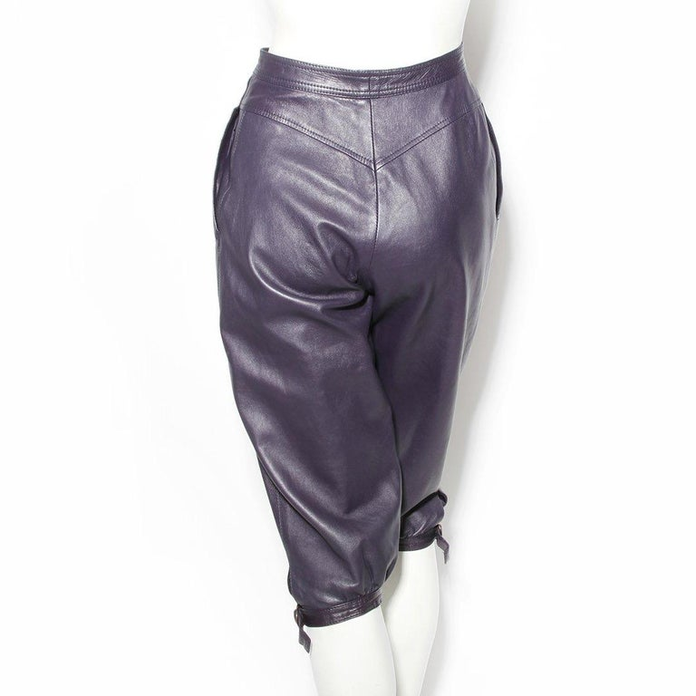 Gray Saint Laurent Rive Gauche Purple Leather Culottes  For Sale