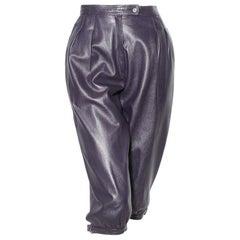 Saint Laurent Rive Gauche Purple Leather Culottes