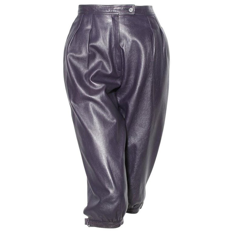 Saint Laurent Rive Gauche Purple Leather Culottes  For Sale