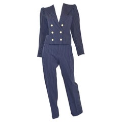 Saint Laurent Rive Gauche Vintage Navy Pinstripe Pant + Jacket Suit Set