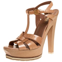 Saint Laurent Rose Gold Parent Leather Tribute Wood Platform Sandals Size 39
