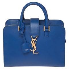 Saint Laurent Royal Blue Leather Baby Monogram Cabas Tote