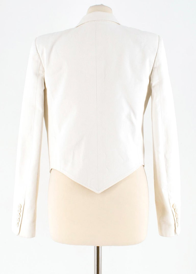 Gray Saint Laurent Runway cropped white blazer US 4 For Sale