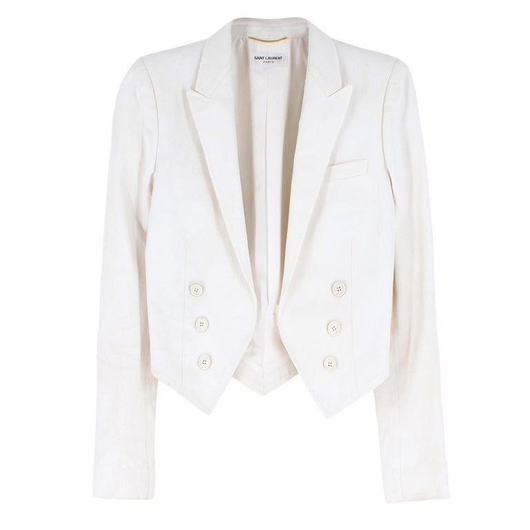 Saint Laurent Runway cropped white blazer US 4 In Good Condition For Sale In London, GB