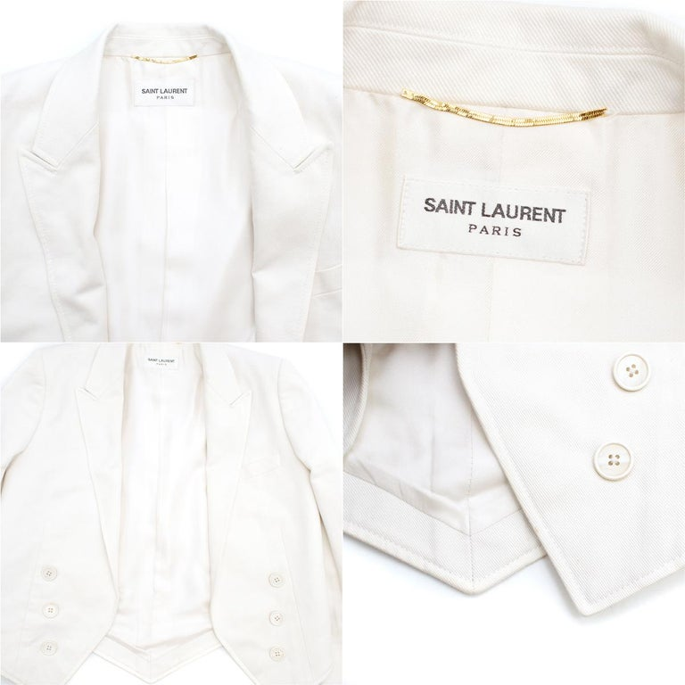 Women's Saint Laurent Runway cropped white blazer US 4 For Sale