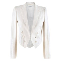 Saint Laurent Runway cropped white blazer US 4