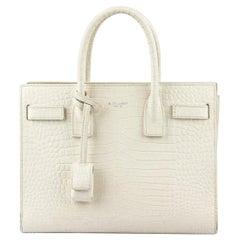 Saint Laurent Sac De Jour Baby Croc Effect Leather Tote Bag