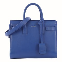 Saint Laurent Sac de Jour Bag Leather Nano crafted from blue leather