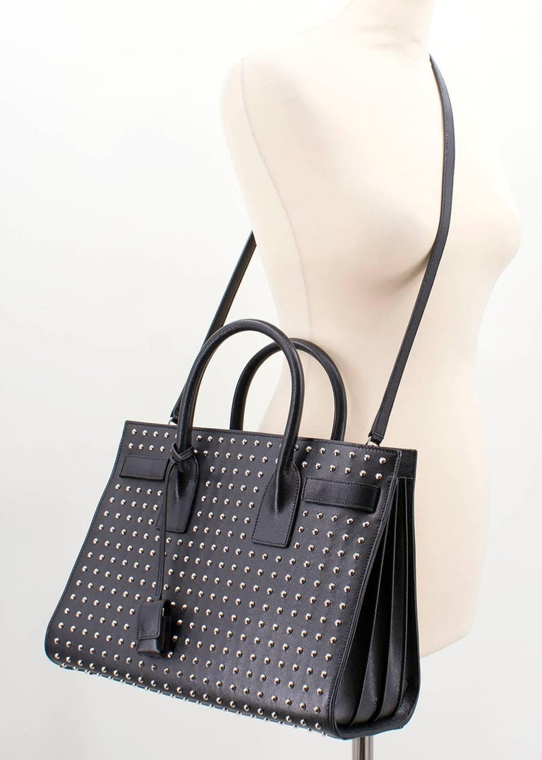 Saint Laurent Sac De Jour Leather Studded Tote Bag For