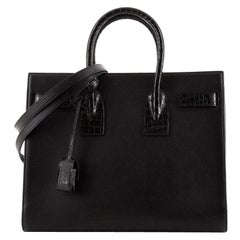 Saint Laurent Sac de Jour NM Bag Leather with Crocodile Embossed Detail Small