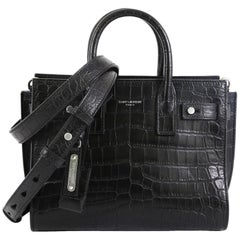 Saint Laurent Sac de Jour Souple Bag Crocodile Embossed Leather Nano