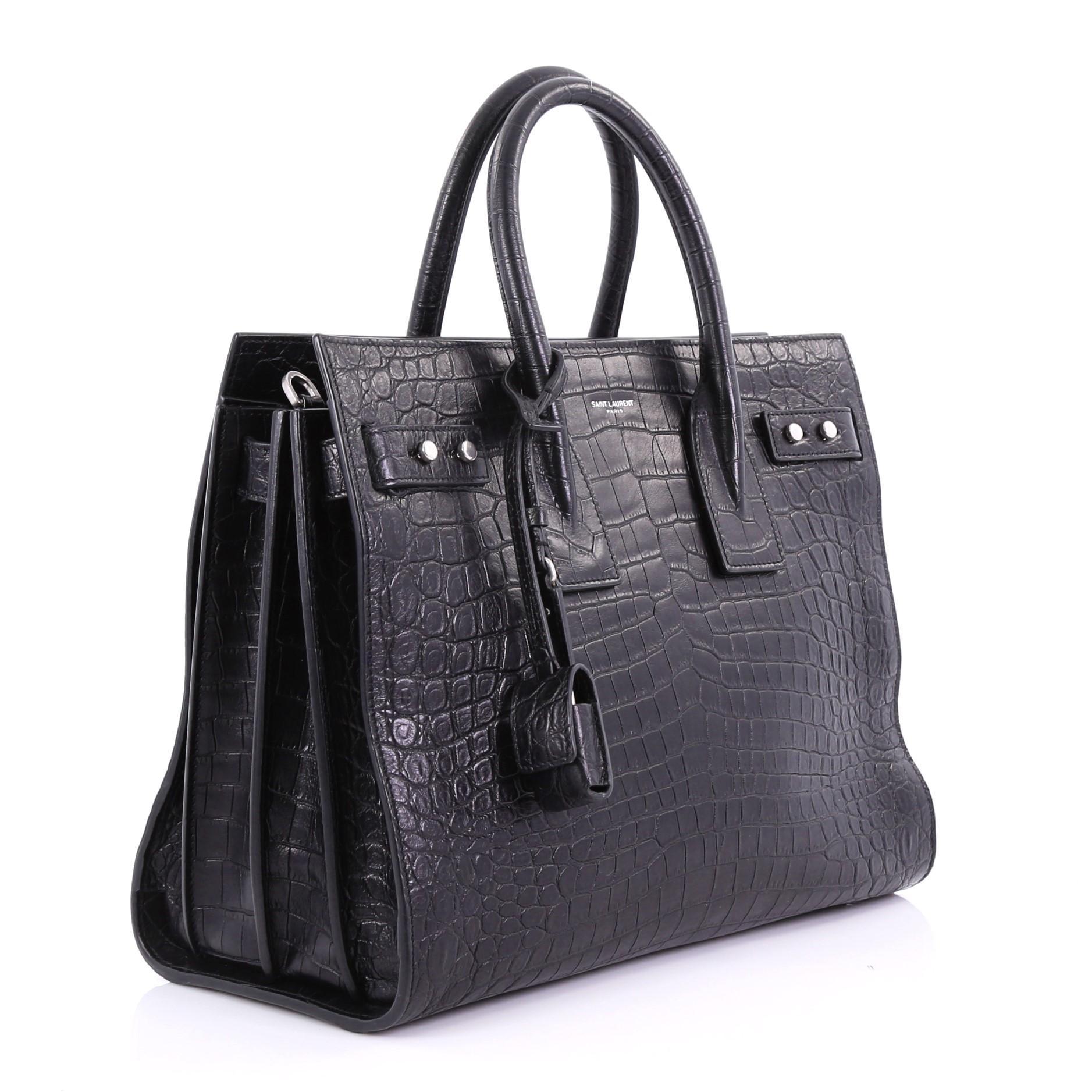 6b17829d67 Saint Laurent Sac de Jour Souple Bag Crocodile Embossed Leather Small