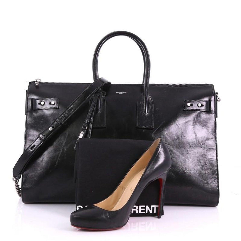 e92539b220c Saint Laurent Sac de Jour Souple Duffle Bag Cracked Shiny Leather 36H at  1stdibs