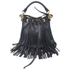 SAINT LAURENT:  Saint Laurent Small Fringe Bucket Bag - Black