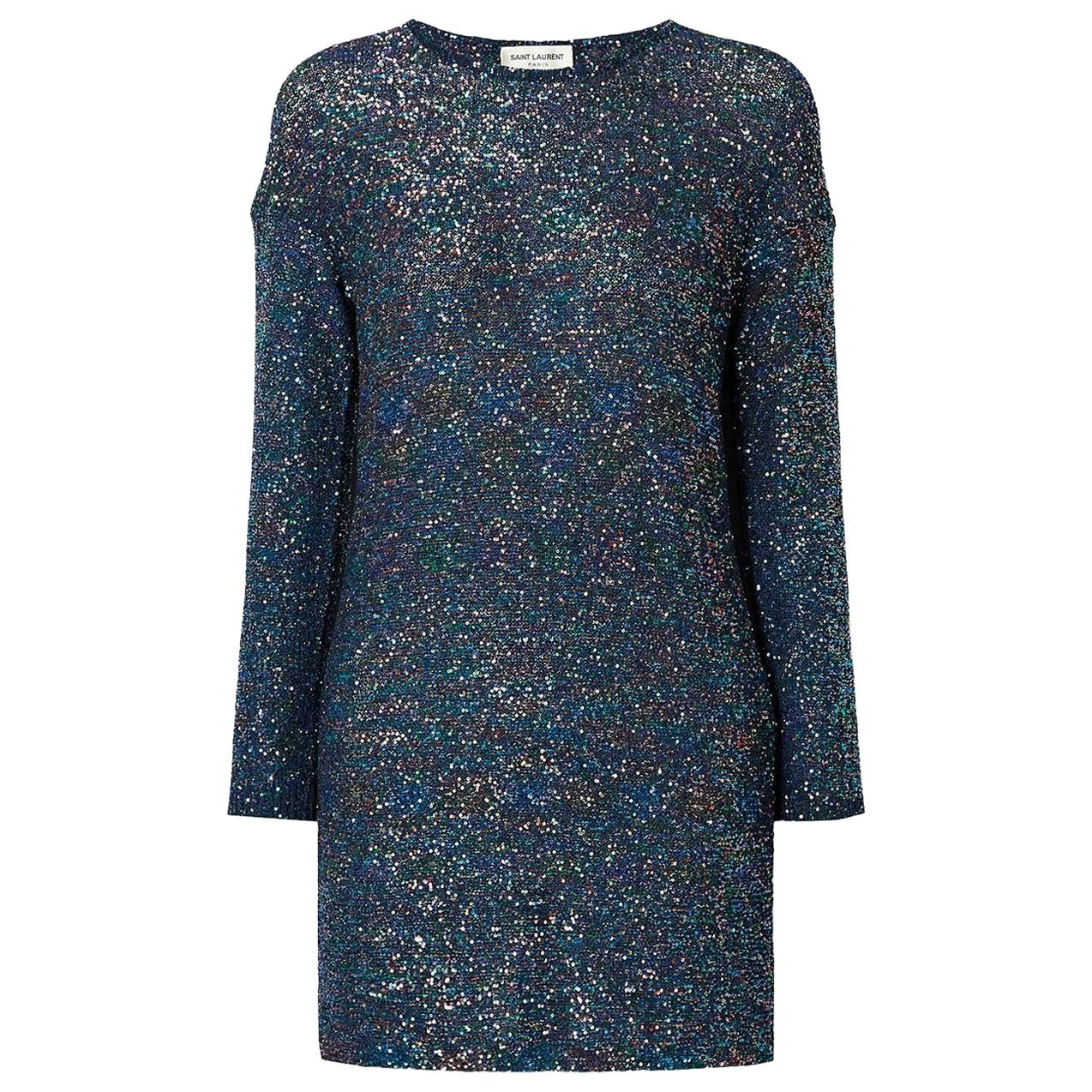Saint Laurent Sequined Knitted Mini Dress