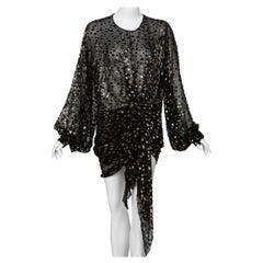 Saint Laurent Sheer Black Silk Gold Lurex Dot Cut Out Back Tunic Mini Dress