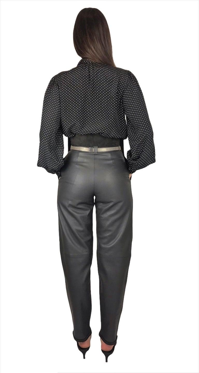 Black Saint Laurent Silk Blouse Hearts Print Pussy Bow Medium Size For Sale