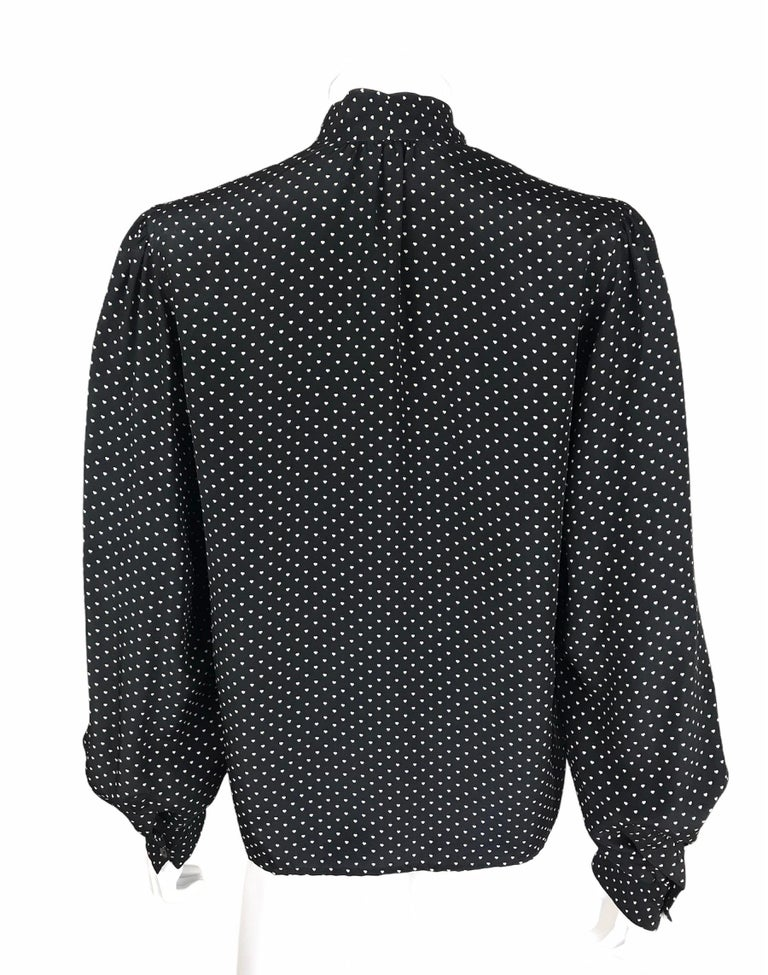 Saint Laurent Silk Blouse Hearts Print Pussy Bow Medium Size In Good Condition For Sale In Paris, FR