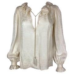 Saint Laurent silk Blouse with Pompoms Medium Size Leaf Pattern