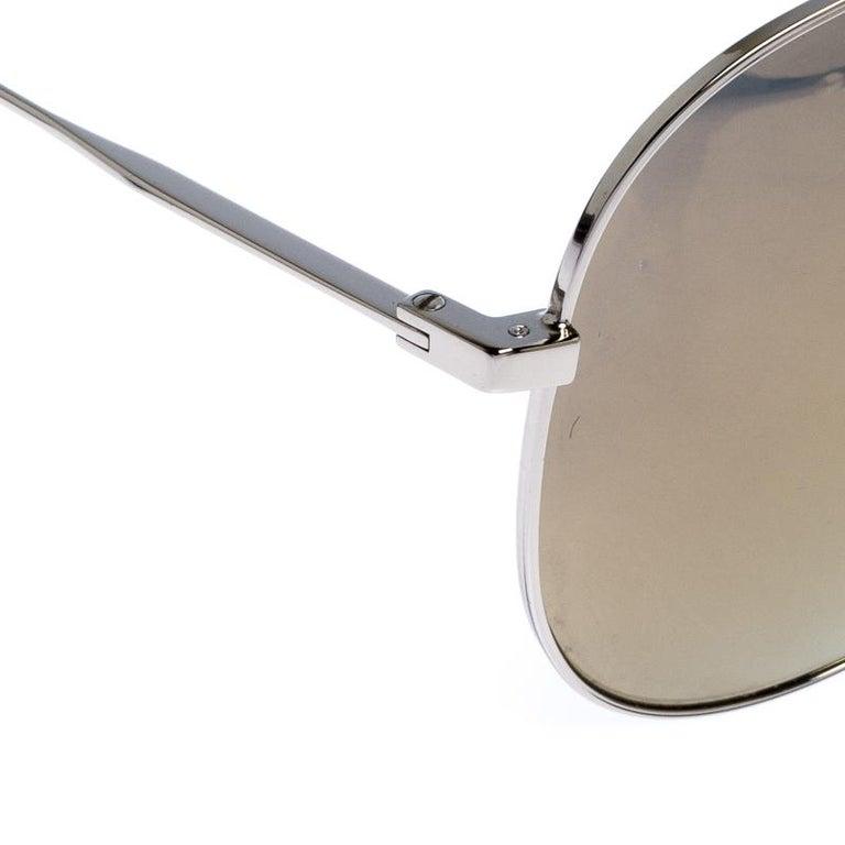 Saint Laurent Silver/Bronze Mirror Aviator Sunglasses In New Condition For Sale In Dubai, Al Qouz 2