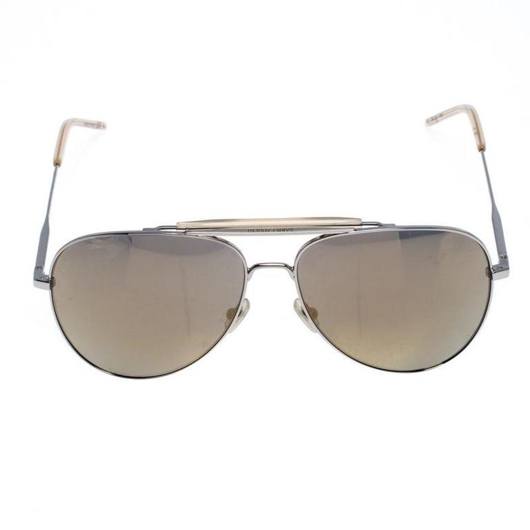 Men's Saint Laurent Silver/Bronze Mirror Aviator Sunglasses For Sale