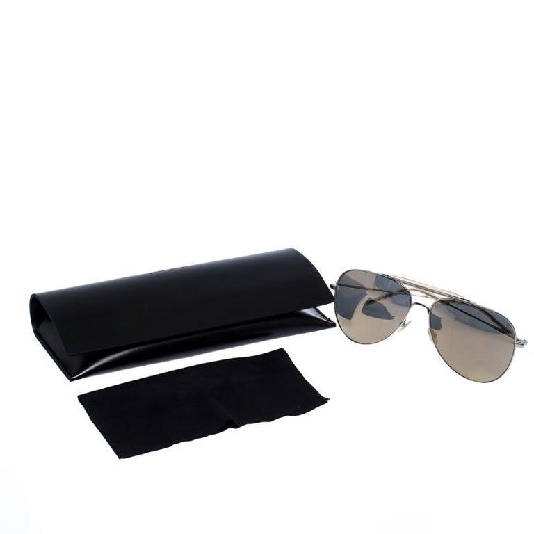 Saint Laurent Silver/Bronze Mirror Aviator Sunglasses For Sale 3