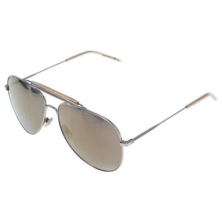 Saint Laurent Silver/Bronze Mirror Aviator Sunglasses For Sale