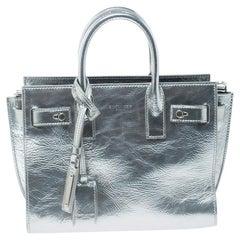 Saint Laurent Silver Laminated Leather Classic Sac De Jour Tote