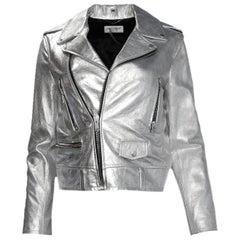 Saint Laurent Silver Leather Biker Moto Jacket sz 38 rt $5,500