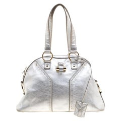 Saint Laurent Silver Leather Medium Muse Satchel