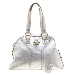 Saint Laurent Silver Leather Medium Muse Satchel