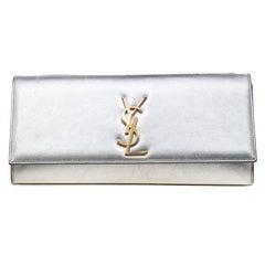 Saint Laurent Silver Leather Monogram Cassandre Clutch