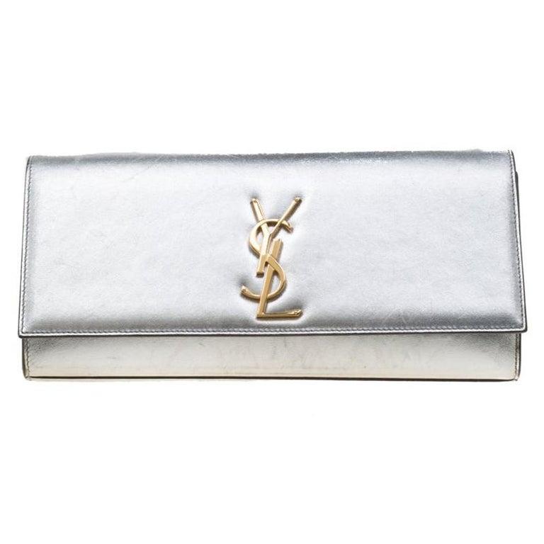 bbe571ab Saint Laurent Silver Leather Monogram Cassandre Clutch For Sale at ...