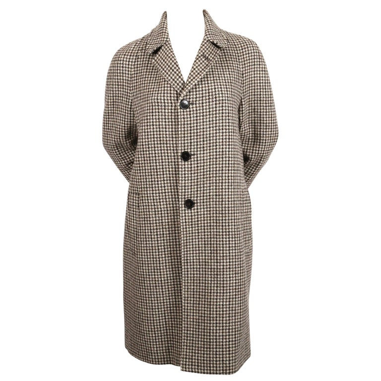 b6a066d7914 SAINT LAURENT single breasted houndstooth wool coat at 1stdibs