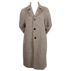 SAINT LAURENT single breasted houndstooth wool coat